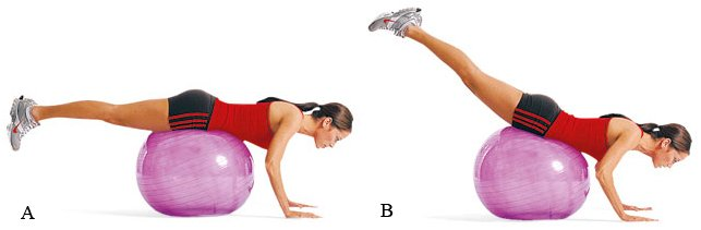 обратная гиперэкстензия на мяче (фитболе)